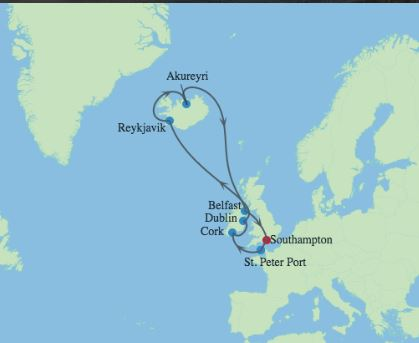 Celebrity Cruises | 14-Nights Roundtrip from Southampton Cruise Iinerary Map