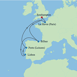 Celebrity Cruises | 8-Nights Roundtrip from Southampton Cruise Iinerary Map