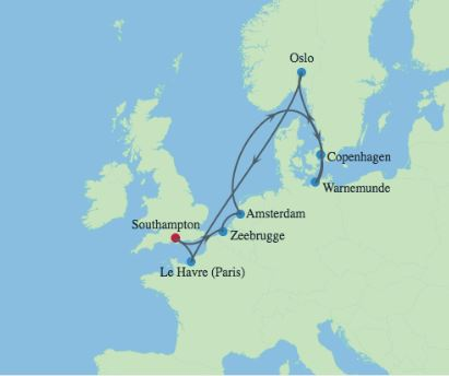 Celebrity Cruises | 10-Nights Roundtrip from Southampton Cruise Iinerary Map