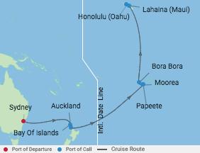 Celebrity Cruises   17-Nights from Sydney to Honolulu, Oahu Cruise Iinerary Map