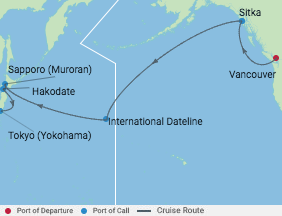 Celebrity Cruises   16-Nights from Vancouver to Tokyo Cruise Iinerary Map