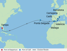 Celebrity Cruises | 15-Nights from Tampa to Barcelona Cruise Iinerary Map
