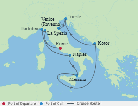 Celebrity Cruises   9-Nights from Rome to Venice Cruise Iinerary Map