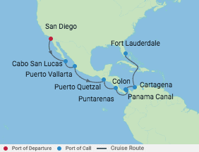 Celebrity Cruises | 15-Nights from San Diego to Fort Lauderdale Cruise Iinerary Map