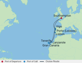 Celebrity Cruises   11-Nights Roundtrip from Southampton Cruise Iinerary Map