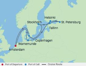 Celebrity Cruises   12-Nights Roundtrip from Amsterdam Cruise Iinerary Map