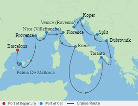 Celebrity Cruises | 13-Nights from Barcelona to Venice Cruise Iinerary Map