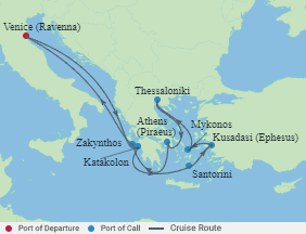 Celebrity Cruises | 10-Nights Roundtrip from Venice Cruise Iinerary Map