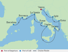 Celebrity Cruises | 9-Nights from Venice to Barcelona Cruise Iinerary Map