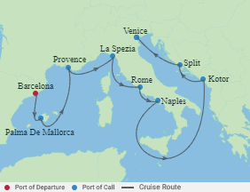 Celebrity Cruises | 9-Nights from Barcelona to Venice Cruise Iinerary Map