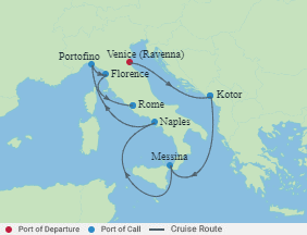 Celebrity Cruises | 9-Nights from Venice to Rome Cruise Iinerary Map