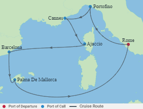 Celebrity Cruises | 7-Nights Roundtrip from Rome Cruise Iinerary Map
