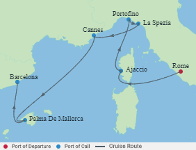 Celebrity Cruises | 7-Nights from Rome to Barcelona Cruise Iinerary Map