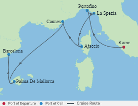 Celebrity Cruises   7-Nights from Rome to Barcelona Cruise Iinerary Map