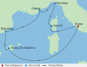 Celebrity Cruises | 8-Nights Roundtrip from Rome Cruise Iinerary Map