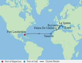 Celebrity Cruises | 14-Nights from Fort Lauderdale to Rome Cruise Iinerary Map