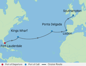 Celebrity Cruises   13-Nights from Fort Lauderdale to Southampton Cruise Iinerary Map