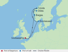 Celebrity Cruises   7-Nights Roundtrip from Southampton Cruise Iinerary Map