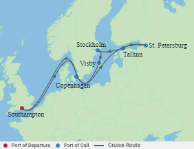 Celebrity Cruises   12-Nights Roundtrip from Southampton Cruise Iinerary Map