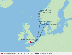 Celebrity Cruises | 7-Nights Roundtrip from Southampton Cruise Iinerary Map