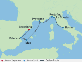 Celebrity Cruises   7-Nights from Barcelona to Rome Cruise Iinerary Map