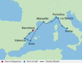 Celebrity Cruises | 7-Nights from Barcelona to Rome Cruise Iinerary Map