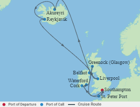 Celebrity Cruises   14-Nights Roundtrip from Southampton Cruise Iinerary Map