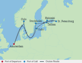 Celebrity Cruises | 12-Nights Roundtrip from Amsterdam Cruise Iinerary Map
