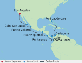 Celebrity Cruises | 15-Nights from Los Angeles to Fort Lauderdale Cruise Iinerary Map