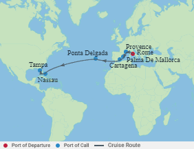 Celebrity Cruises | 15-Nights from Rome to Tampa Cruise Iinerary Map