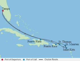 Celebrity Cruises | 10-Nights Roundtrip from Tampa Cruise Iinerary Map