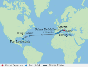 Celebrity Cruises   14-Nights from Rome to Fort Lauderdale Cruise Iinerary Map