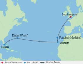 Celebrity Cruises   14-Nights from Southampton to Miami Cruise Iinerary Map