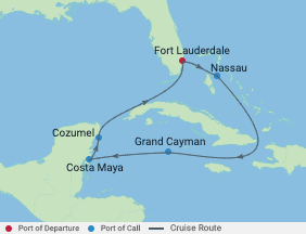 Celebrity Cruises   7-Nights Roundtrip from Fort Lauderdale Cruise Iinerary Map