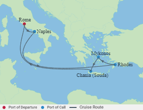 Celebrity Cruises   7-Nights Roundtrip from Rome Cruise Iinerary Map