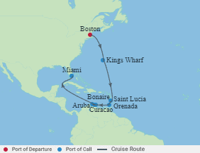 Celebrity Cruises | 12-Nights from Boston to Miami Cruise Iinerary Map