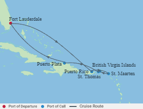 Celebrity Cruises   8-Nights Roundtrip from Fort Lauderdale Cruise Iinerary Map