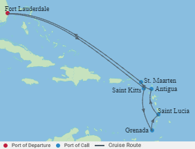 Celebrity Cruises   10-Nights Roundtrip from Fort Lauderdale Cruise Iinerary Map