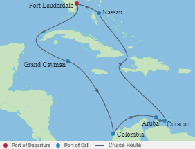 Celebrity Cruises   11-Nights Roundtrip from Fort Lauderdale Cruise Iinerary Map