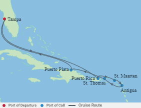Celebrity Cruises   10-Nights Roundtrip from Tampa Cruise Iinerary Map