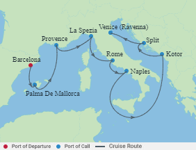 Celebrity Cruises   9-Nights from Barcelona to Venice Cruise Iinerary Map